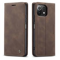 CaseMe - Xiaomi Mi 11 Lite Hoesje - Wallet Book Case - Magneetsluiting - Donker Bruin