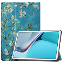 Huawei MatePad 11 Inch (2021) Hoes - Tri-Fold Book Case - Witte Bloesem