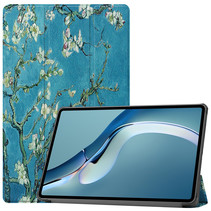 Huawei MatePad Pro 12.6 (2021) Hoes - Tri-Fold Book Case - Witte Bloesem