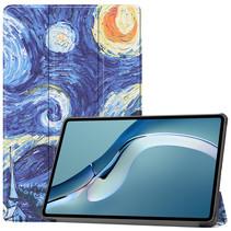 Huawei MatePad Pro 12.6 (2021) Hoes - Tri-Fold Book Case - Sterrenhemel
