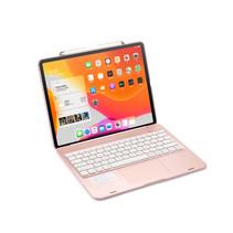 iPad Pro Toetsenbord Hoes - 12.9 inch (2021, 2020, 2018) - Bluetooth Toetsenbord - Draaibaar, Touchpad & Verlichting - QWERTY -  Rosé Goud