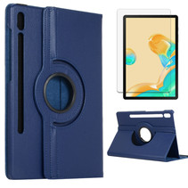 Samsung Galaxy Tab S7 Plus Hoes (2020) - Draaibare Book Case + Screenprotector - 12.4 Inch - Donker Blauw