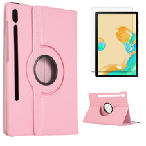 Samsung Galaxy Tab S7 Plus Hoes (2020) - Draaibare Book Case + Screenprotector - 12.4 Inch - Roze