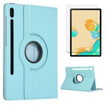 Samsung Galaxy Tab S7 Plus Hoes (2020) - Draaibare Book Case + Screenprotector - 12.4 Inch - Licht Blauw