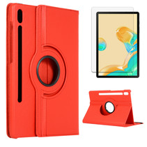 Samsung Galaxy Tab S7 Plus Hoes (2020) - Draaibare Book Case + Screenprotector - 12.4 Inch - Rood
