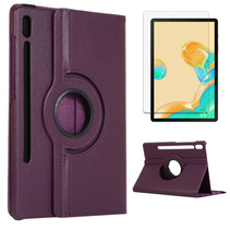 Samsung Galaxy Tab S7 Plus Hoes (2020) - Draaibare Book Case + Screenprotector - 12.4 Inch - Paars