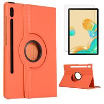 Samsung Galaxy Tab S7 Plus Hoes (2020) - Draaibare Book Case + Screenprotector - 12.4 Inch - Oranje
