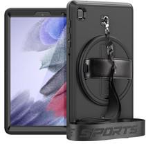 Case2go - Hoes voor Samsung Galaxy Tab A7 Lite - Hand Strap Armor - Rugged Case met schouderband -  Zwart