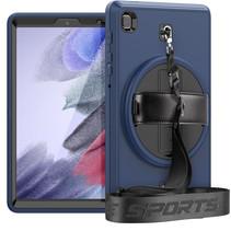Case2go - Hoes voor Samsung Galaxy Tab A7 Lite - Hand Strap Armor - Rugged Case met schouderband - Donker Blauw