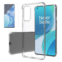 OnePlus 9 Hoesje + Screenprotector- Clear Soft Case - Siliconen Back Cover - Shock Proof TPU - Transparant