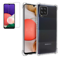 Samsung Galaxy A42 Hoesje + Screenprotector- Clear Soft Case - Siliconen Back Cover - Shock Proof TPU - Transparant