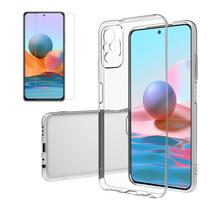 Xiaomi Redmi Note 10 Hoesje + Screenprotector- Clear Soft Case - Siliconen Back Cover - Shock Proof TPU - Transparant