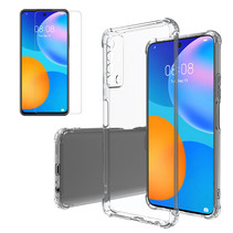 Huawei P Smart 2021 Hoesje + Screenprotector- Clear Soft Case - Siliconen Back Cover - Shock Proof TPU - Transparant