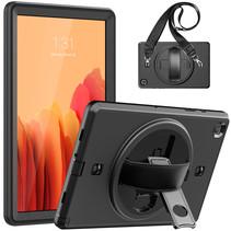 Hoes voor Samsung Galaxy Tab A7 10.4 (2020) - Hand Strap Armor - Rugged Case met schouderband - Zwart