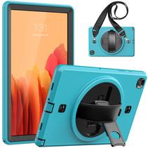 Case2go - Hoes voor Samsung Galaxy Tab A7 10.4 (2020) - Hand Strap Armor - Rugged Case met schouderband - Licht Blauw