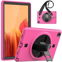 Case2go - Hoes voor Samsung Galaxy Tab A7 10.4 (2020) - Hand Strap Armor - Rugged Case met schouderband - Magenta