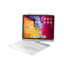 iPad Pro Bluetooth Toetsenbord - 12.9 inch - (2021, 2020 en 2018) - QWERTY - Bluetooth Toetsenbord hoes - Toetsenbord verlichting en Touchpad - 360 graden draaibaar - Zilver