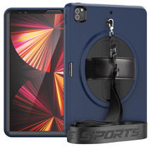 iPad Pro 12.9 (2020/2021) Hoes - Hand Strap Armor - Rugged Case met schouderband - Donker Blauw