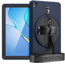 Huawei MatePad T10s Hoes - Hand Strap Armor - Rugged Case met schouderband - 10.1 Inch - Donker Blauw