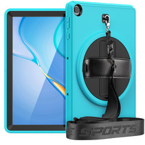 Huawei MatePad T10s Hoes - Hand Strap Armor - Rugged Case met schouderband - 10.1 Inch - Licht Blauw