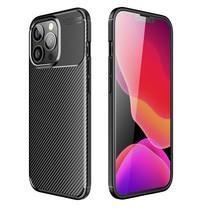 iPhone 13 Pro Max Hoesje - Luxe Carbon Fiber Backcover - Carbon Fiber Patroon - Zwart