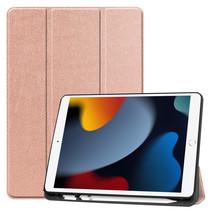 Case2go - Tablet hoes geschikt voor Apple iPad 2021 - 10.2 inch - Tri-Fold Book Case - Apple Pencil Houder - Rosé Goud