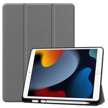 Case2go - Tablet hoes geschikt voor Apple iPad 2021 - 10.2 inch - Tri-Fold Book Case - Apple Pencil Houder - Grijs