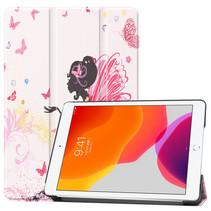 Case2go - Tablet hoes geschikt voor iPad 2021 - 10.2 Inch - Tri-Fold Book Case - Flower Fairy