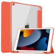 Case2go - Tablet hoes geschikt voor iPad 2021 - 10.2 Inch - Transparante Case - Tri-fold Back Cover - Oranje