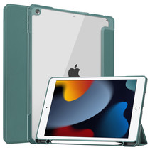Case2go - Tablet hoes geschikt voor iPad 2021 - 10.2 Inch - Transparante Case - Tri-fold Back Cover - Donker Groen