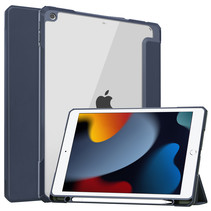Case2go - Tablet hoes geschikt voor iPad 2021 - 10.2 Inch - Transparante Case - Tri-fold Back Cover - Donker Blauw
