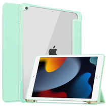 Case2go - Tablet hoes geschikt voor iPad 2021 - 10.2 Inch - Transparante Case - Tri-fold Back Cover - Mint Groen