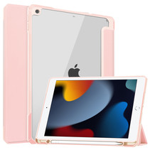 Case2go - Tablet hoes geschikt voor iPad 2021 - 10.2 Inch - Transparante Case - Tri-fold Back Cover - Roze