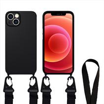 Hoesje Met Koord geschikt voor Apple iPhone 13 Pro Max - TPU Case - Siliconen Back Cover - Zwart