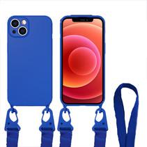 Hoesje Met Koord geschikt voor Apple iPhone 13 - TPU Case - Siliconen Back Cover - Donker Blauw