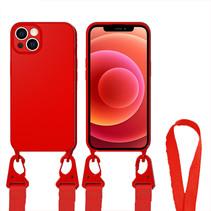 Hoesje Met Koord geschikt voor Apple iPhone 13 Pro - TPU Case - Siliconen Back Cover - Rood