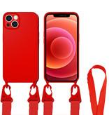 Case2go Hoesje Met Koord geschikt voor Apple iPhone 13 Pro Max - TPU Case - Siliconen Back Cover - Rood