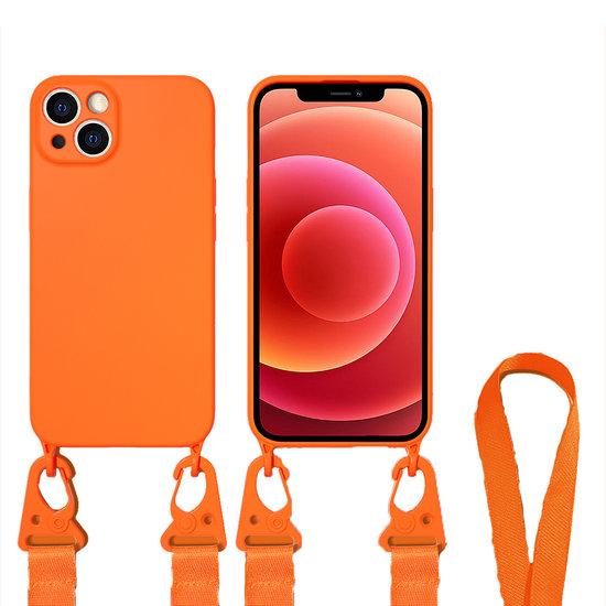 Case2go Hoesje Met Koord geschikt voor Apple iPhone 13 Pro - TPU Case - Siliconen Back Cover - Oranje