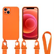 Hoesje Met Koord geschikt voor Apple iPhone 13 Pro Max - TPU Case - Siliconen Back Cover - Oranje