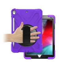Case2go - Tablet hoes geschikt voor iPad 2021 - 10.2 Inch - Hand Strap Armor Case - Paars