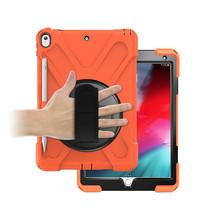 Case2go - Tablet hoes geschikt voor iPad 2021 - 10.2 Inch - Hand Strap Armor Case - Oranje