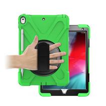 Case2go - Tablet hoes geschikt voor iPad 2021 - 10.2 Inch - Hand Strap Armor Case - Green