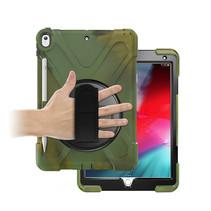 Case2go - Tablet hoes geschikt voor iPad 2021 - 10.2 Inch - Hand Strap Armor Case - Camouflage