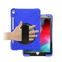 Case2go - Tablet hoes geschikt voor iPad 2021 - 10.2 Inch - Hand Strap Armor Case - Blauw