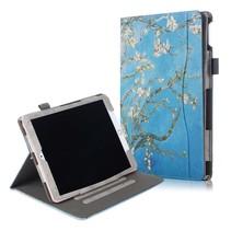 Case2go - Tablet hoes geschikt voor iPad 2021 - 10.2 Inch - Wallet Book Case - Witte Bloesem