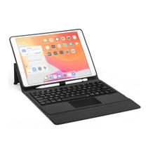 Case2go - Bluetooth toetsenbord Tablet hoes geschikt voor iPad 2021 - 10.2 Inch - met Touchpad & Toetsenbord verlichting - Zwart