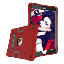Case2go - Tablet hoes geschikt voor iPad 2021 - 10.2 Inch - Schokbestendige Back Cover - Hybrid Armor Case - Rood/Zwart