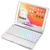 Case2go - Bluetooth toetsenbord Tablet hoes geschikt voor iPad 2021 - 10.2 Inch - QWERTY - met Touchpad & Toetsenbord verlichting - 360 graden draaibaar - Zilver