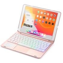 Case2go - Bluetooth toetsenbord Tablet hoes geschikt voor iPad 2021 - 10.2 Inch - met Touchpad - Rosé-Goud