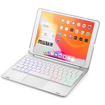 Case2go - Bluetooth toetsenbord Tablet hoes geschikt voor iPad 2021 - 10.2 Inch - met Touchpad - Zilver